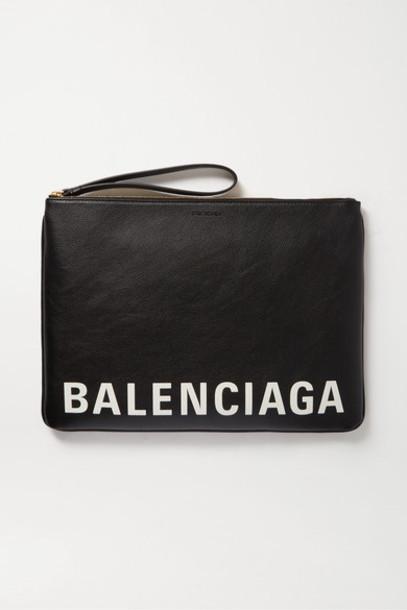 Balenciaga - Cash Printed Textured-leather Pouch - Black