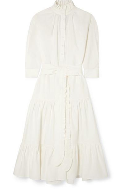 Evi Grintela - Phoebe Ruffled Cotton-corduroy Maxi Dress - White