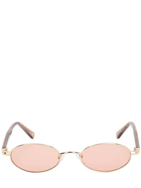 LE SPECS Sorcerer Oval Metal Sunglasses in gold