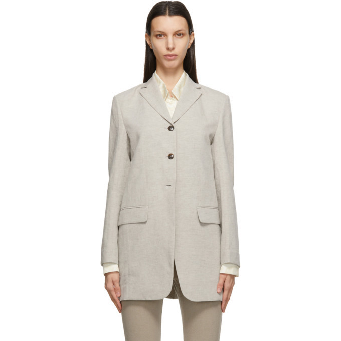 LOW CLASSIC Taupe Linen Classic Blazer in beige