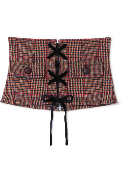 Miu Miu - Lace-up Velvet And Leather-trimmed Houndstooth Wool-blend Corset Belt - Red