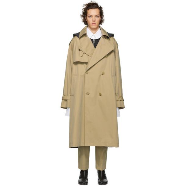 Juun.J Beige & Grey Long Trench Coat