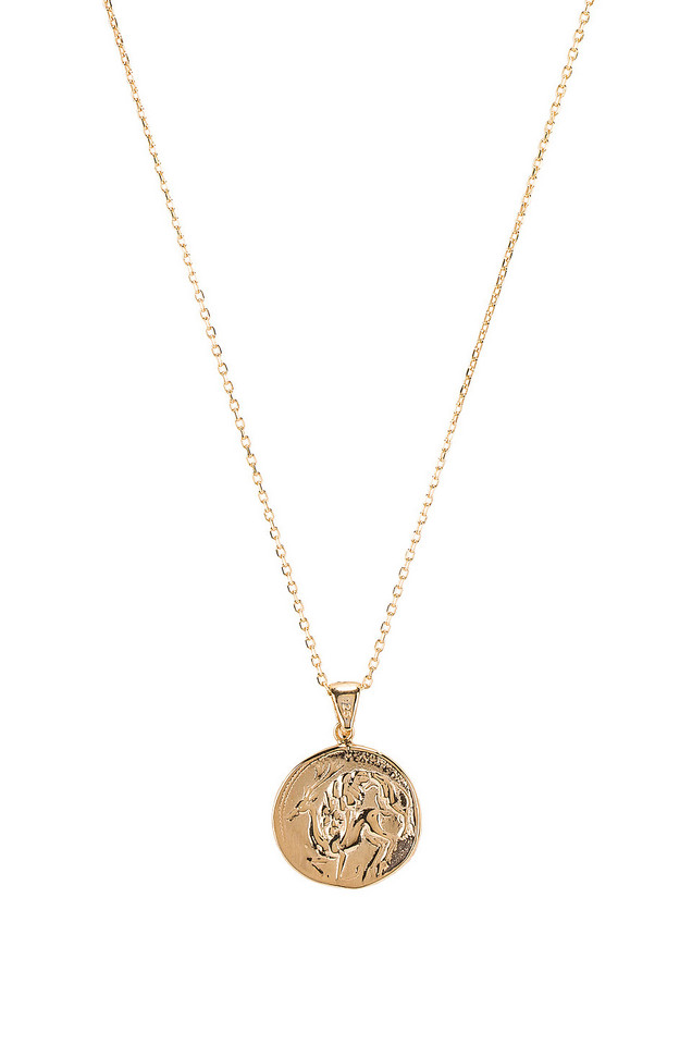 Natalie B Jewelry The Protector Reversible Coin Pendant Necklace in gold / metallic