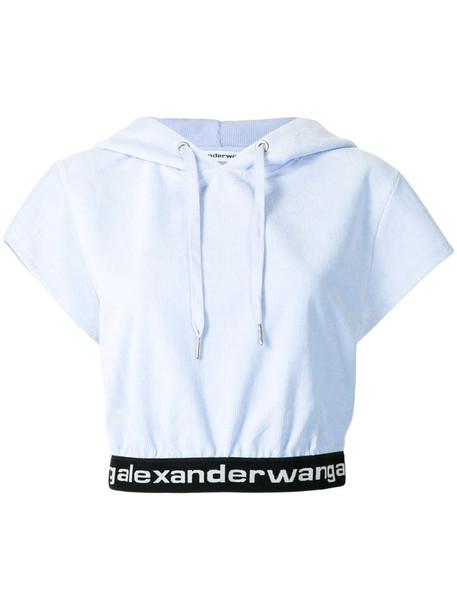 Alexander Wang cropped corduroy hoodie in blue