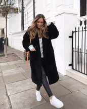 coat,teddy bear coat,black coat,white sneakers,black leather pants,sweatshirt,bag