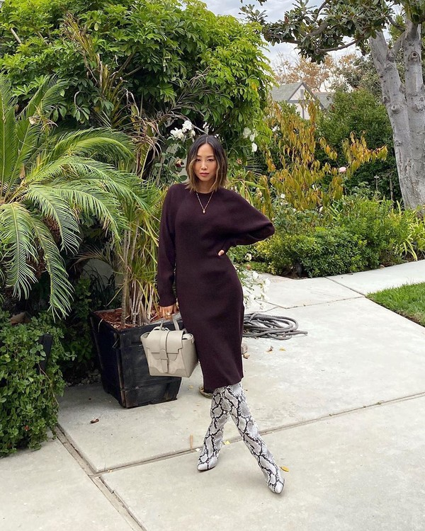 dress midi dress long sleeve dress knee high boots snake print bag