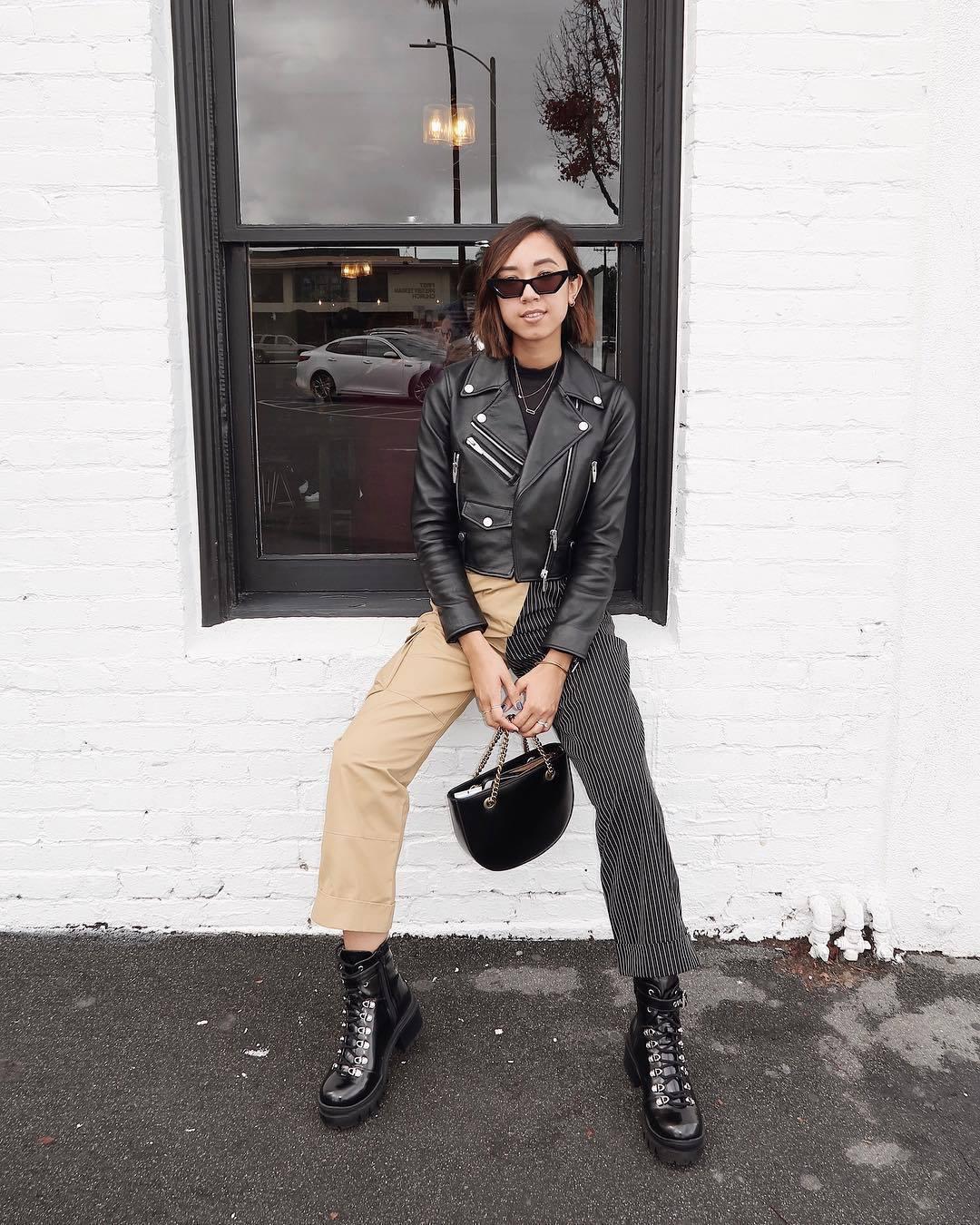 jacket leather jacket black jacket black boots ankle boots patent boots black bag handbag high waisted pants black top