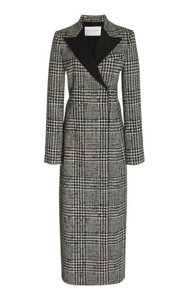 Carolina Herrera Collared Prince Of Wales Checked Silk-Wool Coat