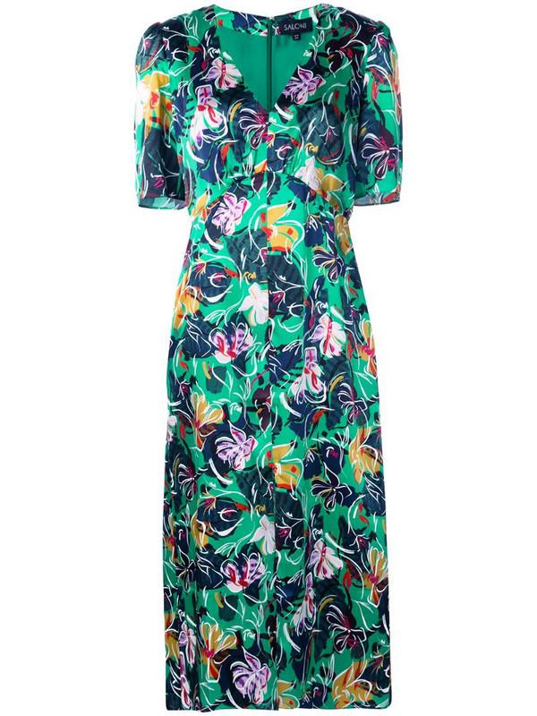 Saloni floral print dress in green