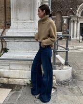 jeans,wide-leg pants,turtleneck sweater,casual