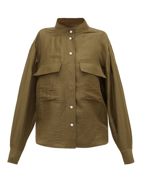 Frame - Stand-collar Linen-blend Shirt - Womens - Khaki