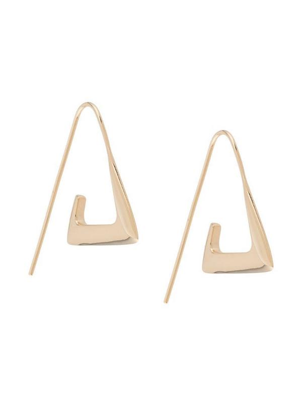 BAR JEWELLERY Para angular hoop earrings in gold