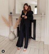 pants,black pants,wide-leg pants,sandal heels,blazer