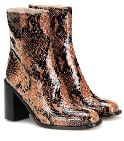 Maryam Nassir Zadeh Mars snake-effect leather ankle boots in brown