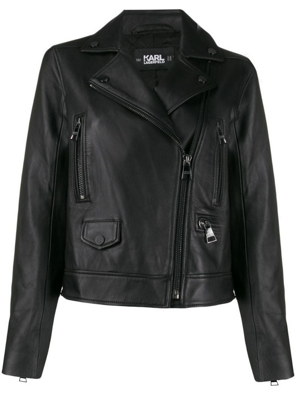 Karl Lagerfeld Ikonik leather biker jacket in black