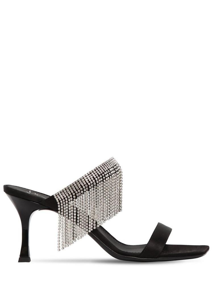 GIUSEPPE ZANOTTI DESIGN 70mm Crystal Fringe Satin Sandals in black