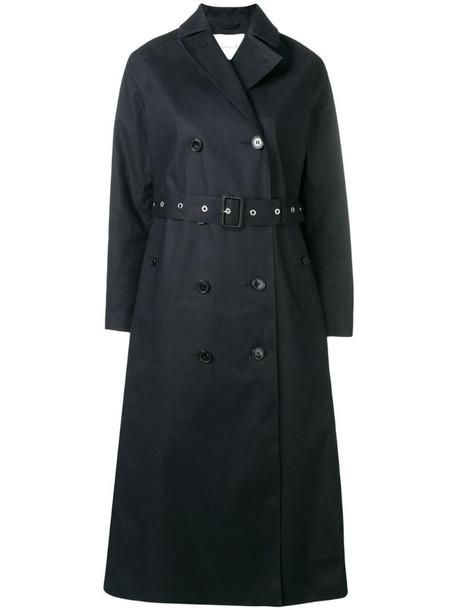 Mackintosh Black Bonded Cotton Long Trench Coat