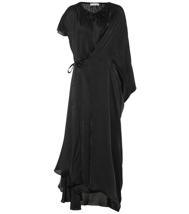 Balenciaga Asymmetric silk dress in black
