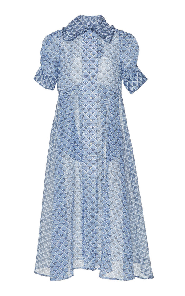 Thierry Colson Tiffen Printed Cotton and Silk-Blend Midi Dress in blue