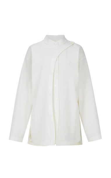 Le17 Septembre Draped Wool-Blend Top in white