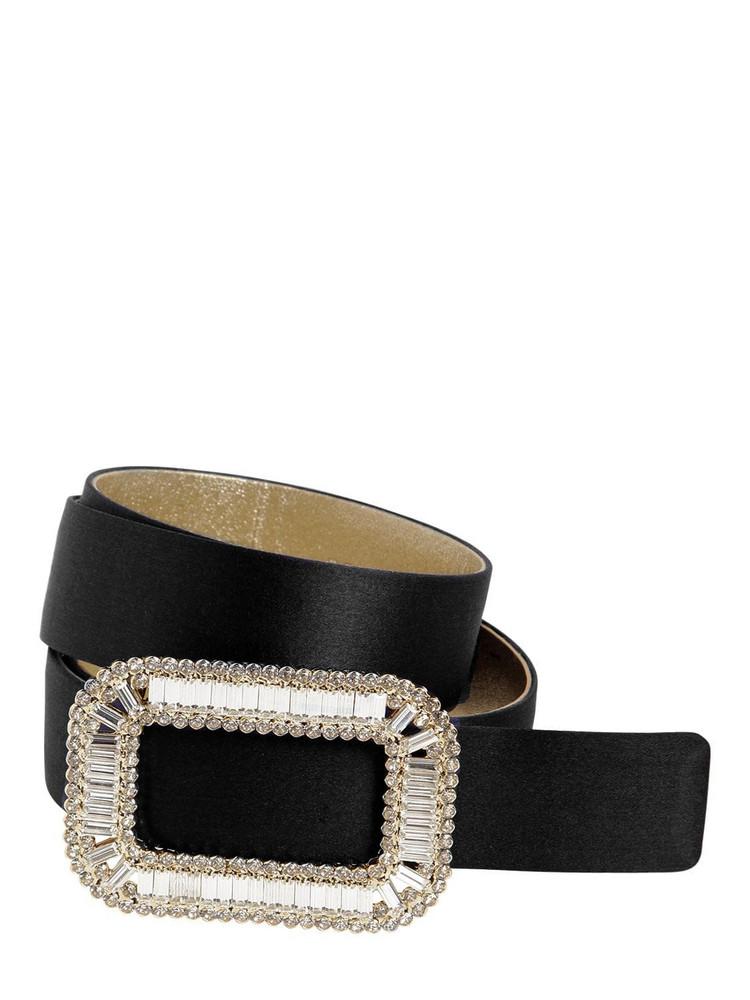 ROGER VIVIER 30mm Pilgrim Crystal Buckle Silk Belt in black