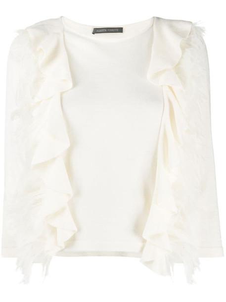 Alberta Ferretti feather-embellished fine knit jumper in neutrals