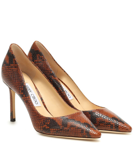 Jimmy Choo Romy 85 snake-effect leather pumps in brown