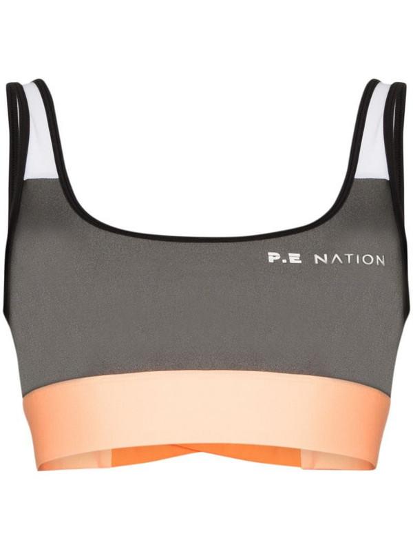 P.E Nation Side Runner colour-block sports bra in grey