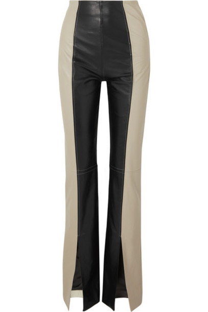 16ARLINGTON - Fonda Two-tone Leather Bootcut Pants - Black