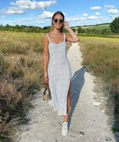 dress,midi dress,slit dress,sneakers,woven bag
