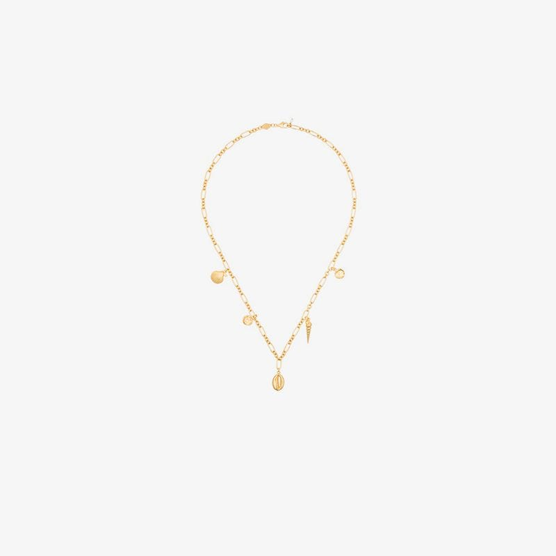 Anni Lu Treasure shell charm 18K gold-plated necklace