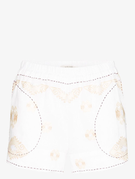 Vita Kin bodrum embroidered linen shorts in white
