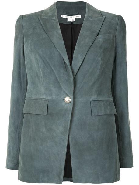Veronica Beard single-breasted cotton blazer in blue