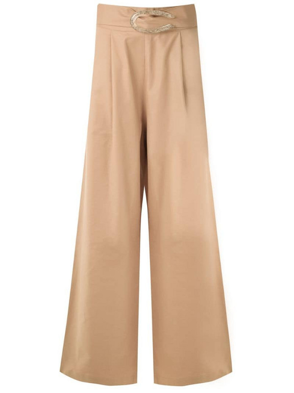 Framed palazzo pants in neutrals
