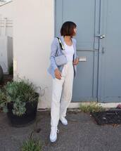 bag,blazer,blue blazer,jeans,white jeans,denim
