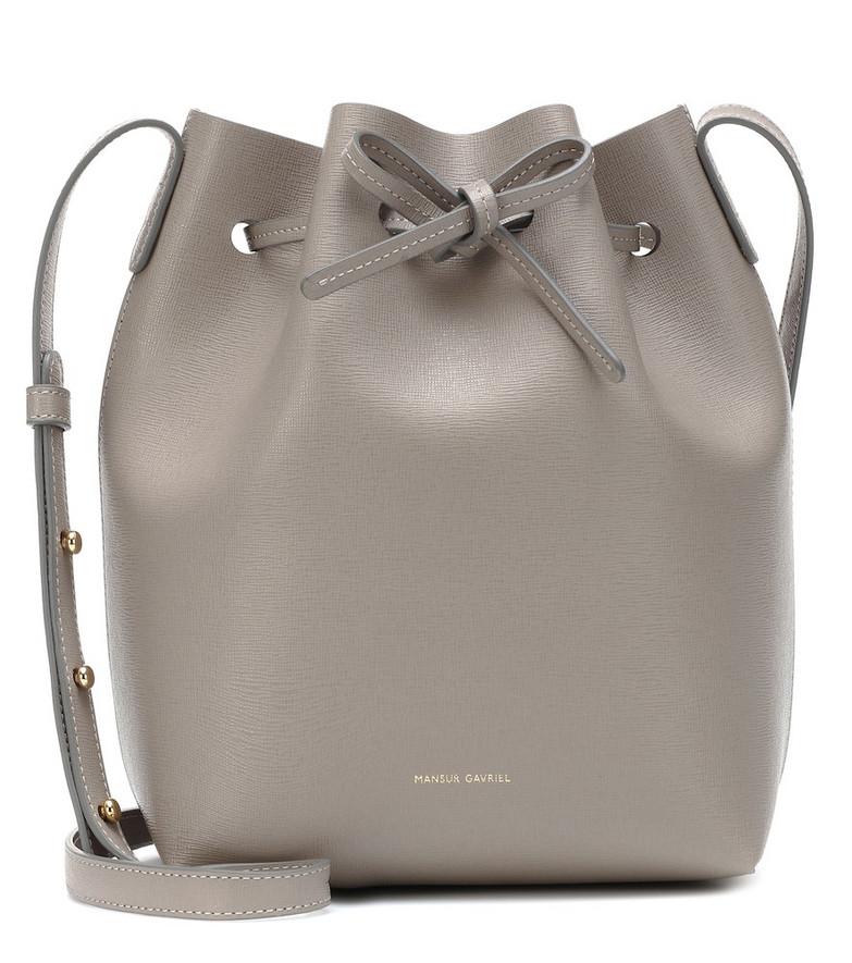 Mansur Gavriel Mini leather bucket bag in grey