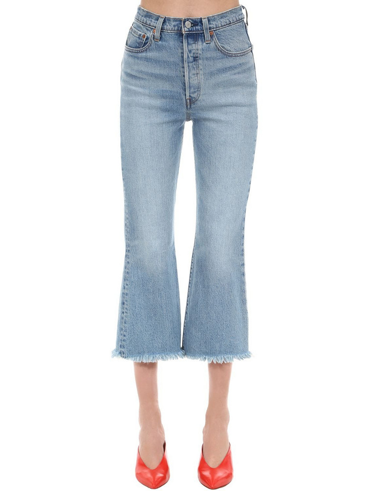 LEVI'S RED TAB Cropped Ribcage Flared Denim Jeans in blue