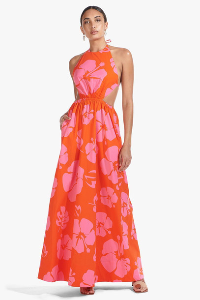 Staud APFEL DRESS | RED HIBISCUS