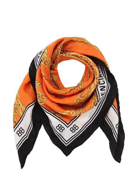 BALENCIAGA Logo Print Silk Twill Scarf in gold / orange