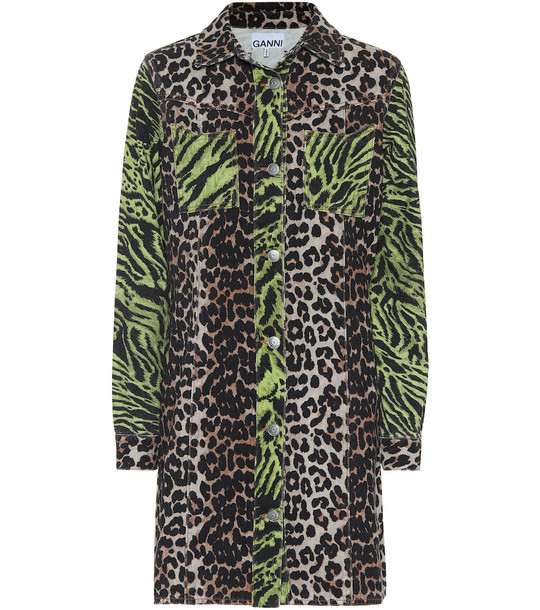 Ganni Leopard-print denim shirt dress