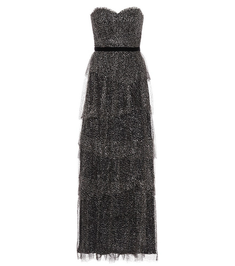 Marchesa Notte Tiered tulle strapless gown in black