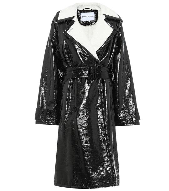 Stand Studio Erica patent faux leather coat in black