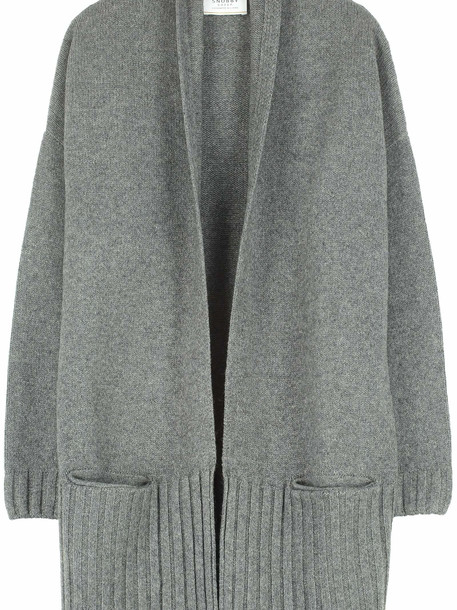 Snobby Sheep Long Yack Wool Cardigan in grey