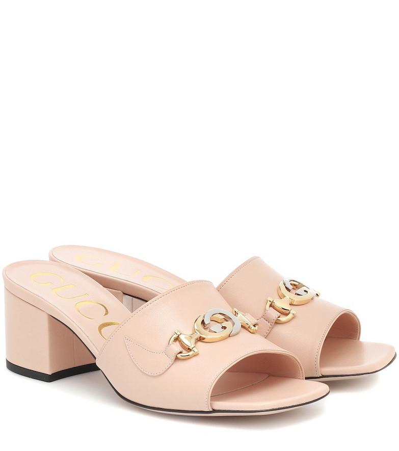 Gucci Zumi 55 leather sandals in pink