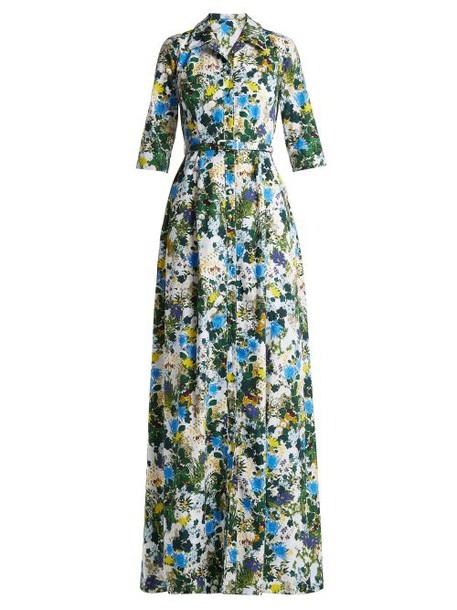 Erdem - Karissa Mariko Meadow Print Cotton Shirtdress - Womens - Blue Print