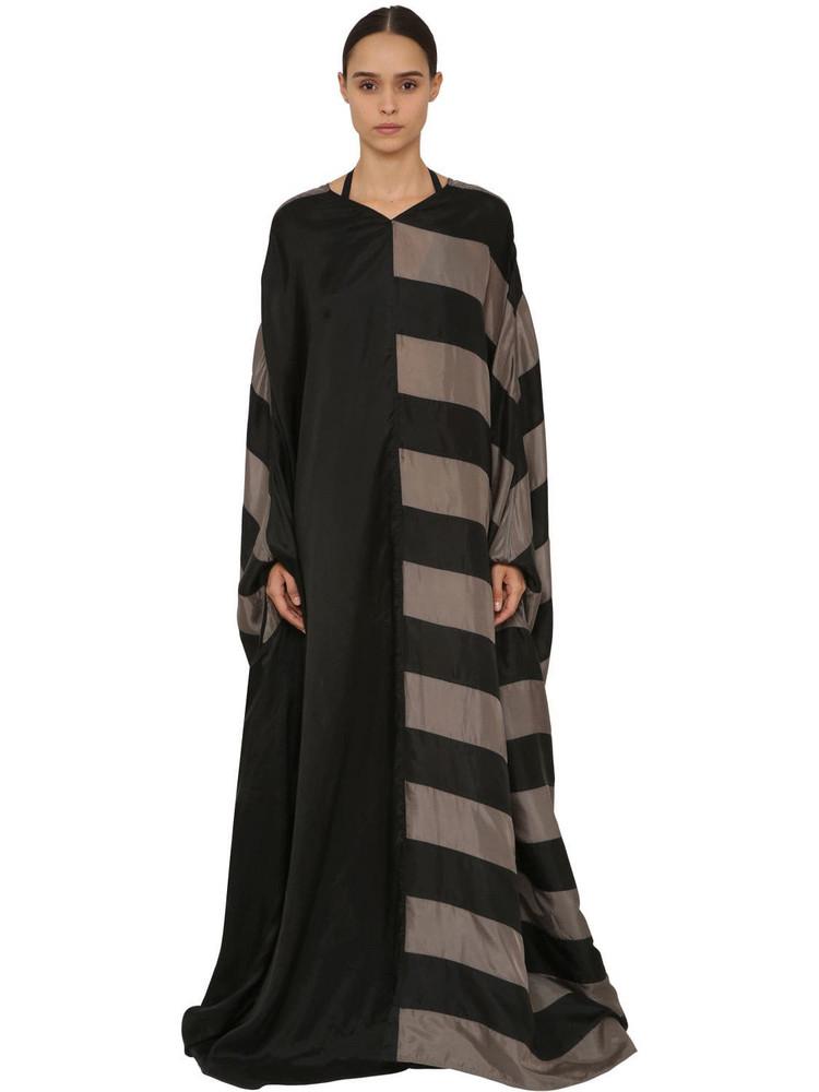 RICK OWENS Long Striped Japonette Dress in black