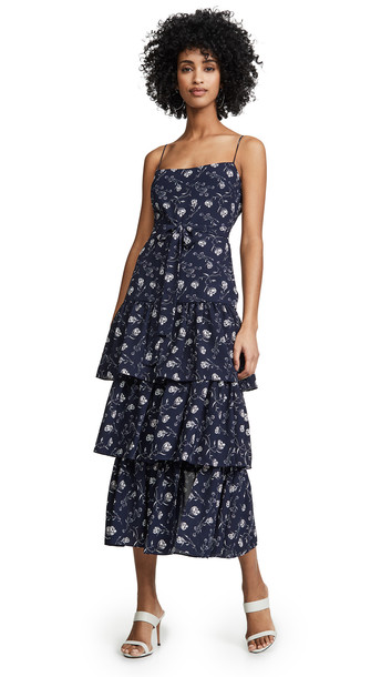 LIKELY Maisie Floral Dress in navy / multi