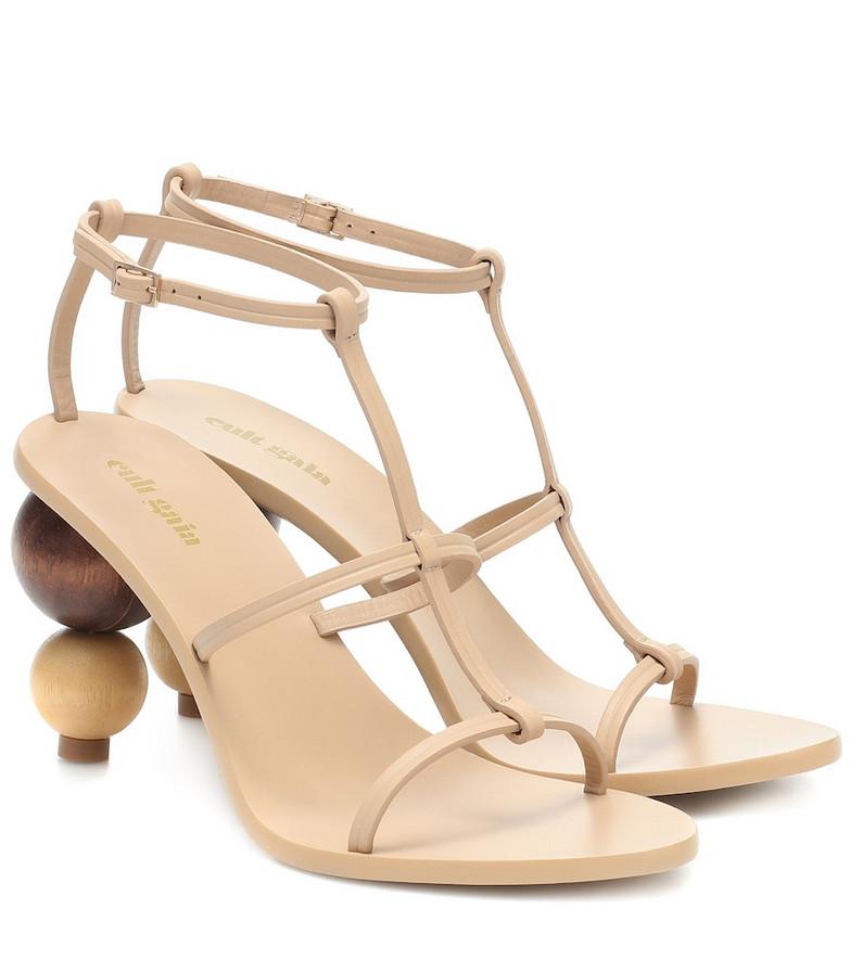 Cult Gaia Eden leather sandals in beige