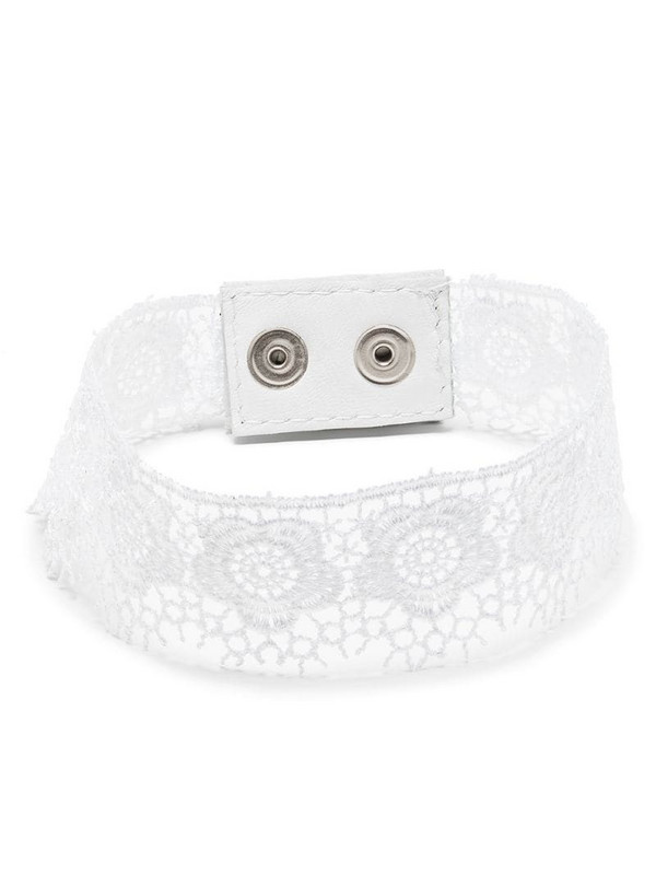 Manokhi cotton lace choker necklace in white