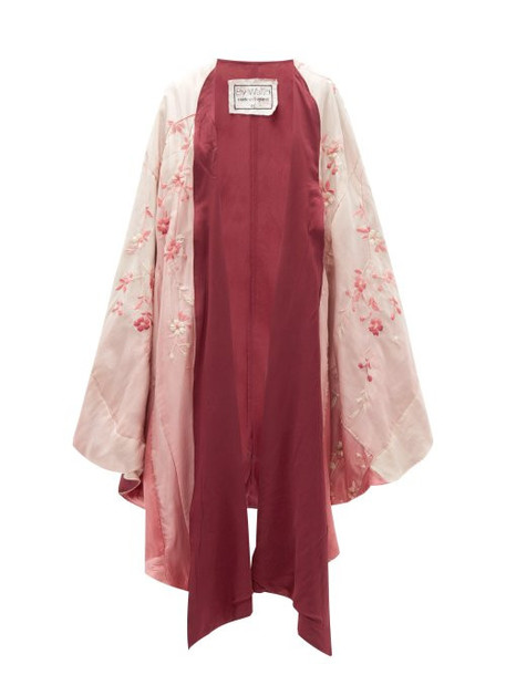 By Walid - Conchita Floral Embroidered Silk Poncho - Womens - Pink